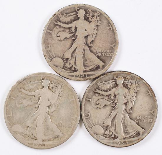 3 Walking Liberty Silver Half Dollars; 1921P,1923S,1933S