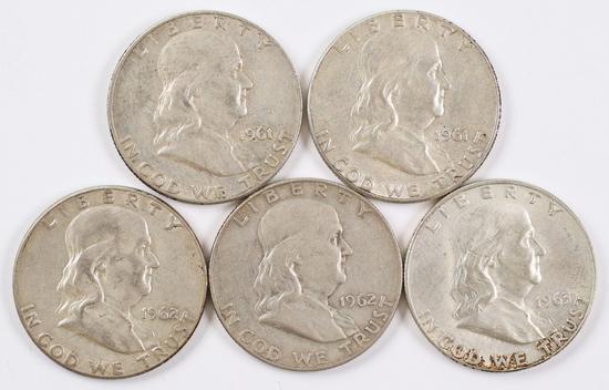 5 Franklin Silver Half Dollars; 1961P,1961D,1962P,1962D,1963D
