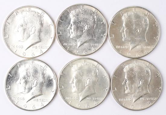 6 1964-P Kennedy Half Dollars