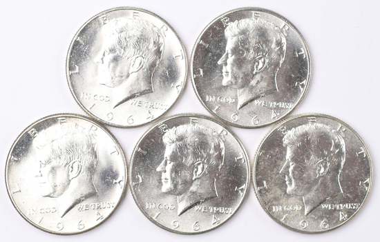 5 1964-P Kennedy Half Dollars