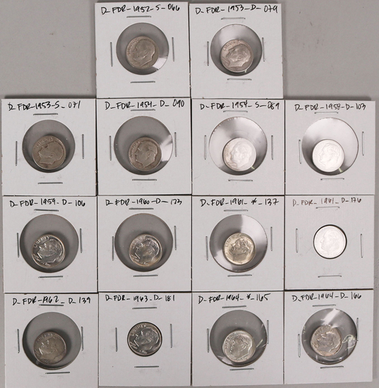 14 Roosevelt Silver Dimes