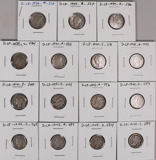 15 Mercury Silver Dimes