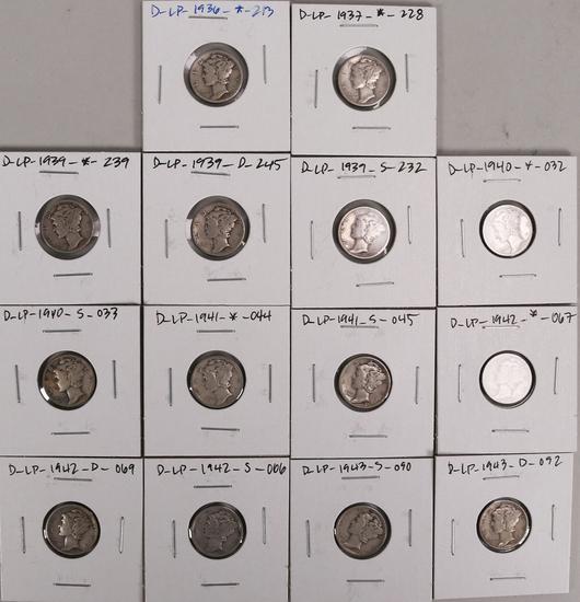 14 Mercury Silver Dimes