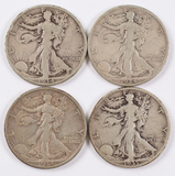4 Walking Liberty Silver Half Dollars; 1934P,1934D,1934S,1935S