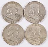4 Franklin Silver Half Dollars; 1959P,1959D,1960P,1960D