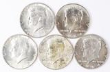 5 1964-D Kennedy Half Dollars