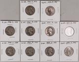 10 Washington Silver Quarters