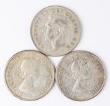 1951 George VI, 1963 Elizabeth II & 1964 Elizabeth II 80% Silver Half Dollars