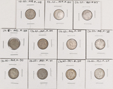 11 George VI Silver 10 Cent Pieces
