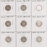 9 George VI Silver 10 Cent Pieces