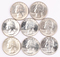 8  - 1964-D Washington Silver Quarters