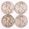 4 Walking Liberty Silver Half Dollars, 1-Faded date, 1920P/S,1921S