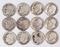 12 Roosevelt Silver Dimes, various dates/mints