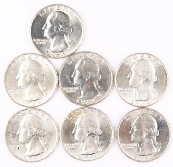7  - 1964-D Washington Silver Quarters