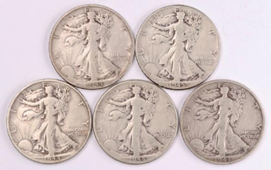 5 Walking Liberty Silver Half Dollars, 1943S,1944P/D/S, 1945P