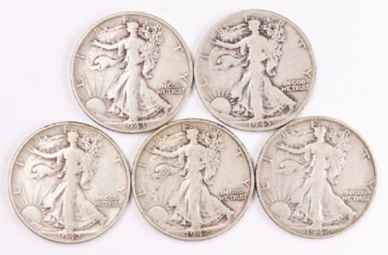 5 Walking Liberty Silver Half Dollars, 1942P/D/S, 1943P/D