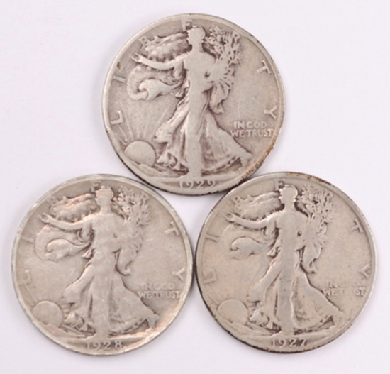3 Walking Liberty Silver Half Dollars, 1927S, 1928S, 1929S