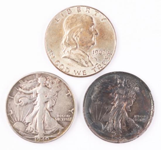1963P Franklin Silver Half & 1940P + 1944D Walking Liberty Silver Half Dollars