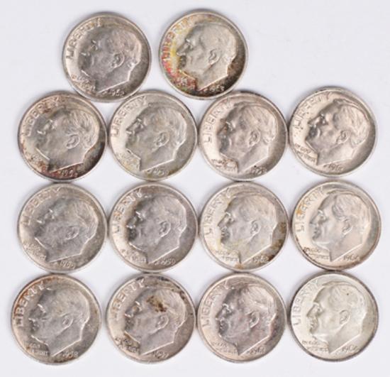 14 Roosevelt Silver Dimes, various dates/mints