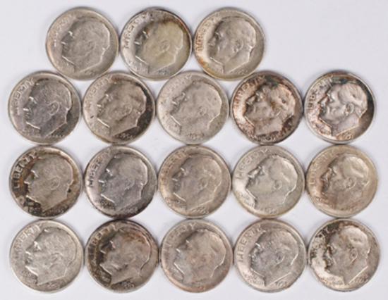 18 Roosevelt Silver Dimes, various dates/mints