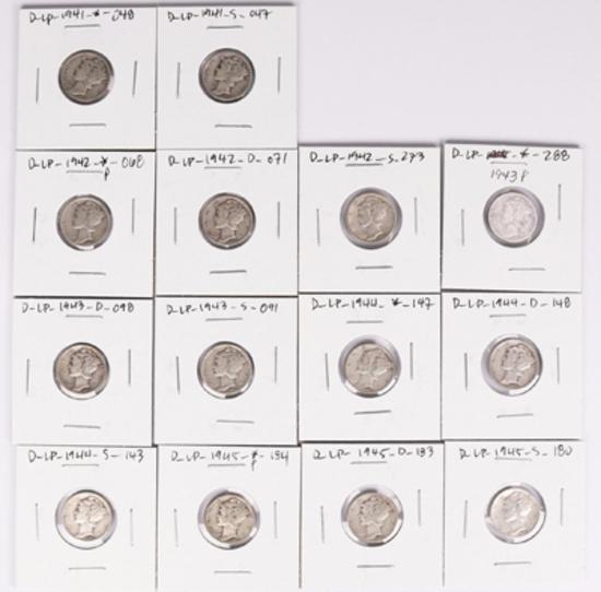 14 Mercury Silver Dimes, various dates/mints