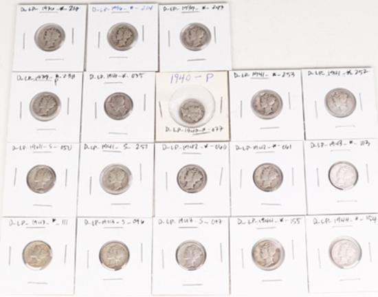 18 Mercury Silver Dimes, various dates/mints