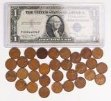 1935D $1 Blue Seal  Silver Certificate & 31 Wheat Pennies