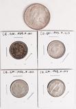 1966 Elizabeth II 80% Silver Dollar & 4 George VI 25 Cents