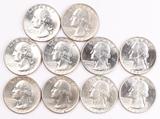10 Washington Silver Quarters, 8 1964-D & 2 1964-P