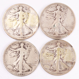 4 Walking Liberty Silver Half Dollars, 1935D,1936P/D/S
