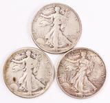 3 Walking Liberty Silver Half Dollars, 1945P/D/S