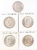 1958D Franklin Silver Half , 2 - 90% Silver Kennedy  Halves , 2 - 40% Silver Kennedy halves