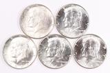 5 - 1964-P Kennedy Silver Half Dollars