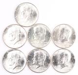 7 - 1964-P Kennedy Silver Half Dollars