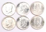 6 - 1964-P Kennedy Silver Half Dollars