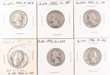 6 Washington Silver Quarters, various dates/mints