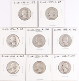 8 Washington Silver Quarters, various dates/mints