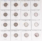 16 Mercury Silver Dimes, various dates/mints