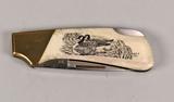 Vintage Kershaw Oregon Knife - Duck Scene, Bone Handle