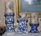 3 Blue & White Candle Holders w/ Candles