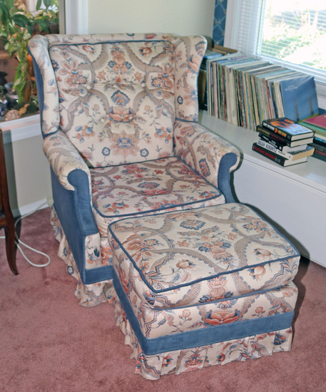 Upholstered Arm Chair w/ Ottoman