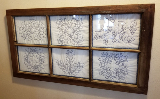 Old Window w/ Quilted Panels