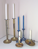 Brass & Pewter Candlesticks w/ Candles