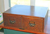 Antique Oak 2 Drawer Card File Cabinet