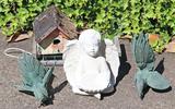 Yard Art - Cherub, Chickens & Bird House