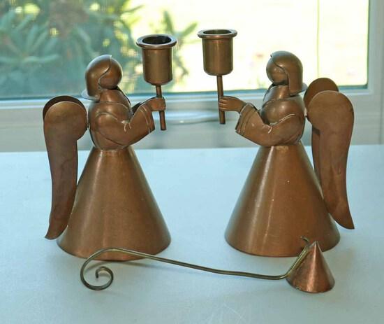 Copper Finished Angel Candlesticks