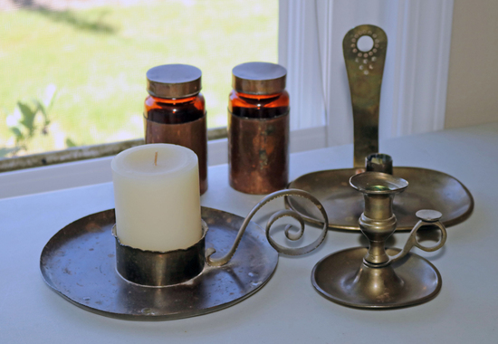 Brass Finished Candlesticks &  Copper Clad Jars