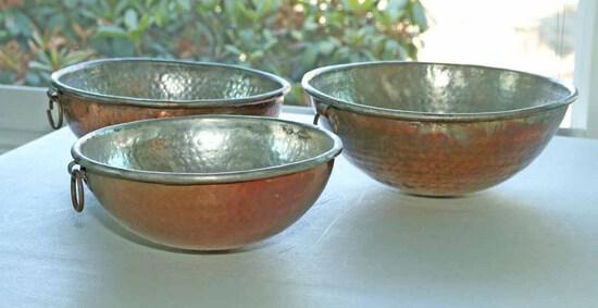 Hammered Copper Clad Bowls
