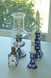 Blue & White Candlesticks & Lamps