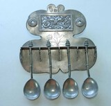 Pewter Soup Spoons w/ Display Holder